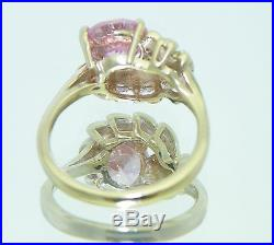 PINK CUBIC ZIRCONIA SOLITAIRE RING REAL SOLID 10 K GOLD 4.1 g SIZE 6.25