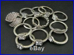 Pandora Rings Lot of 12 Sterling Silver 925 Ale Cubic Zirconia Stones As Is