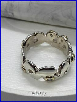 Pandora Silver ring, 14K, cubic zirconia 190132LCZ swirl waves size 60 retired