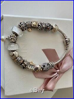 Pandora bracelet with 15 charms, to include gold & cubic zirconia plus 1 clip