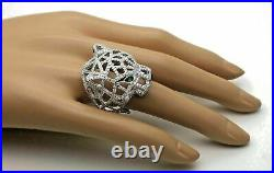 Panther Genuine Solid 925 Sterling Silver White Round Cubic Cocktail Ring