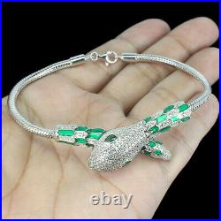 Pear AAA Green White Cubic Zirconia 925 Sterling Silver Cobra Bracelet 7.5inches