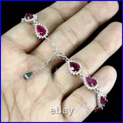 Pear Cut Red Ruby 7x5mm White Cubic Zirconia 925 Sterling Silver Bracelet 7 Ins
