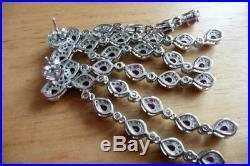 Pear Red Ruby & Cubic Zirconia 925 Silver Chandelier Drop Dangle Earrings