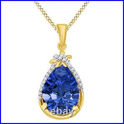 Pear Tanzanite & Round Cubic Zirconia Halo Pendant Necklace 14K Yellow Gold Over