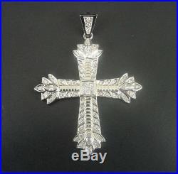 Pendant Sterling 925 Silver Cross Large Cubic Zirconia Stones Sparkle Necklace