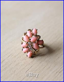 Pink Salmon Coral & Clear Cubic Zirconia Gold Plated Sterling Silver Ring Seta