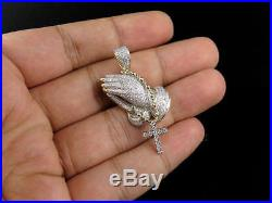 Praying Hand Rosary Beads Sterling Silver Cubic Zirconia Pendant 1.7 Free Shipp