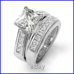 Princess Cubic Zirconia Bridal Set Wedding Engagement Ring Sterling Silver SZ6.5