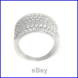 QVC Ring Diamonique Sterling Silver 3.25 ct Cubic Zirconia Concave Size 8