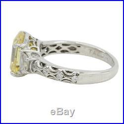 QVC Tacori IV Sterling 4 Cttw Canary & Cubic Zirconia 3 Stone Ring Sz 7 $ 350
