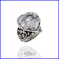 Queen Baby Large Cubic Zirconia Heart Ring Featured in Sterling Silver JH