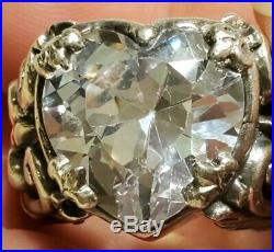 Queen Baby Large Cubic Zirconia Heart Ring Featured in Sterling Silver sz 8
