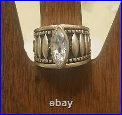 RARE Silpada Sterling Silver Oxidized Marquise Cubic Zirconia Sz 7.5 Ring R1293