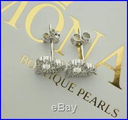 REAL 925 Sterling Silver Stud Earrings Heart Cubic Zirconia Womens Jewelry Gift