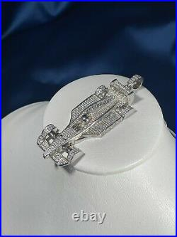 Racing Car Style 925 Sterling Silver Pendant Cubic Zirconia Stones
