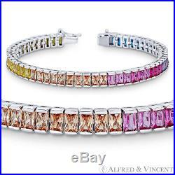 Radiant Cut CZ Crystal Rainbow. 925 Sterling Silver Rhodium 6mm Tennis Bracelet
