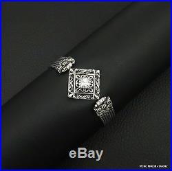 Rare Cubic Zirconia Byzantine Style 925 Sterling Silver Greek Handmade Bracelet