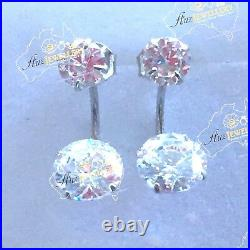Real 925 Sterling Silver 5-7mm Front-Back Double Stone Cubic Zirconia Earring