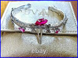 Red Cubic Zirconia Dragonfly Root Tree SS/18 K Solid Gold Cuff Bracelet