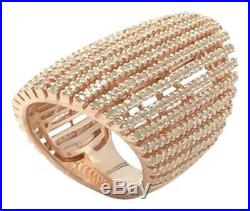 Rose Gold Plated. 925 Sterling Silver High End Cubic Zirconia Cocktail Ring Sz 6