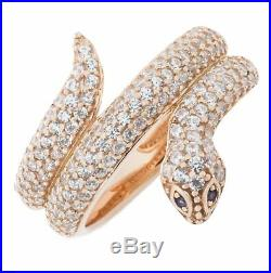 Rose Gold Plated 925 Sterling Silver Snake Fashion Ring with Cubic Zirconia