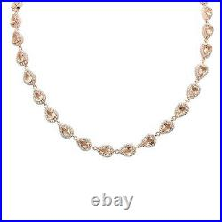 Rose Gold Plated Morganite & Cubic Zirconia. 925 Sterling Silver Necklace 16+2