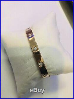 Rose Gold Sterling Silver Swarovski Cubic Zirconia Bangle Bracelet, Hinged