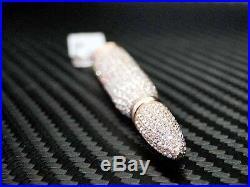 Rose Pink Sterling Silver 925 Fancy C. Z Cubics Zirconia AK Bullet Pendant Charm