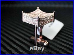 Rose color 925 Sterling Silver Fancy C. Z White Cubic Zirconia Cufflink Cuff link