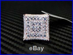 Rose color 925 Sterling Silver Fancy C. Z White Cubic Zirconia Cufflink Cuff link