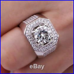Round Cubic Zircon Men's Vintage Jewelry Wedding Ring In 925 Sterling Silver