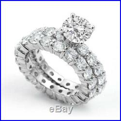 Round Cubic Zirconia Bridal Eternity Wedding Set Ring Sterling Silver 925 SZ 6