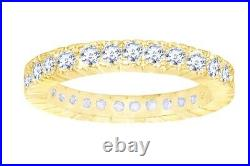 Round Cubic Zirconia Eternity Wedding Band Ring 14K Yellow Gold Over