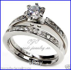 Round Engagement Ring /Wedding SET. 925 SOLID Sterling Silver Cubic Zirconia CZ