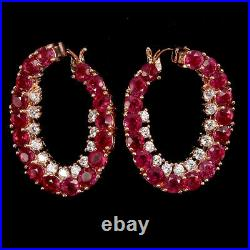 Round Red Ruby 3mm Cubic Zirconia Rose Gold Plate 925 Sterling Silver Earrings