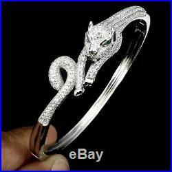 Round White Cubic Zirconia 14K White Gold Plate 925 Sterling Silver Tiger Bangle