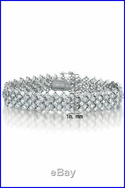 Rozzato Sterling Silver Clear Round Cubic Zirconia Five-Row Bracelet