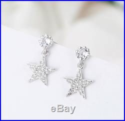 S925 Sterling Silver Pave Cubic Zirconia Star Drop Earrings Back Order