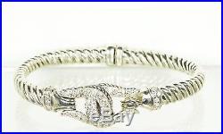 SCOTT KAY Sterling Silver Cubic Zirconia Hinged Bangle Equestrian Bracelet