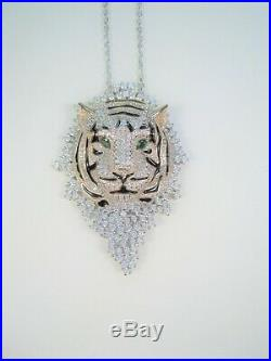 SIBERIAN TIGER NECKLACE Cubic Zirconia ROSE & WHITE GOLD-plated 925 S. SILVER