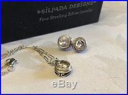 SILPADA Bezel-set Cubic Zirconia CZ Sterling Silver Necklace & Earrings Set MINT