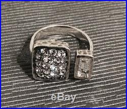 SILPADA Hammered Sterling Silver Adjustable Wrap Cubic Zirconia Ring RARE