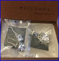 SILPADA W0975 S0979 Cubic Zirconia'UPTOWN' Earrings & Pendent MINT