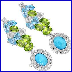 SSS LMRE13 5.5cts Larimar (Dominican Republic) & Cubic Zirconia Silver Earrings