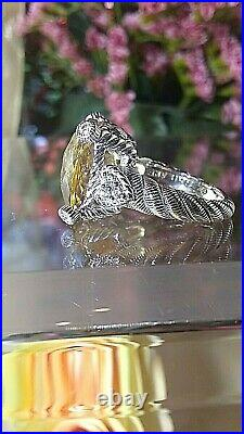 STERLING SILVER CITRINE w CUBIC ZIRCONIA HEARTS RING BY JUDITH RIPKA Sz 6