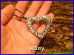 STERLING SILVER LG OPEN HEART PENDANT WithMICRO PAVE CUBIC ZIRCONIA