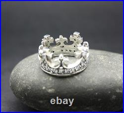 STERLING SILVER QUEEN MARY CROWN RING With CUBIC ZIRCONIA FREE SHIPPING