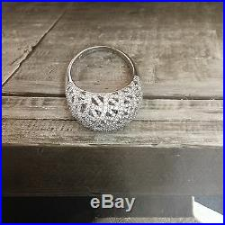 SUZY LEVIAN Cubic Zirconia Filigree Sterling Dome Cocktail Ring Gorgeous Sz 8.25
