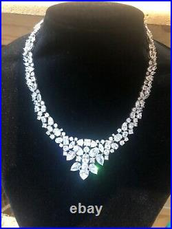 Showstopper! Glitzy Silver Cubic Zirconia Necklace! Wow